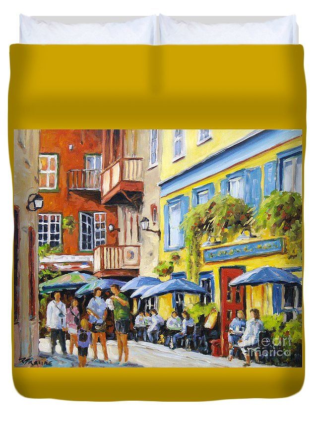 Balcony Duvet Cover featuring the painting Cafe In The Old Quebec by Richard T Pranke