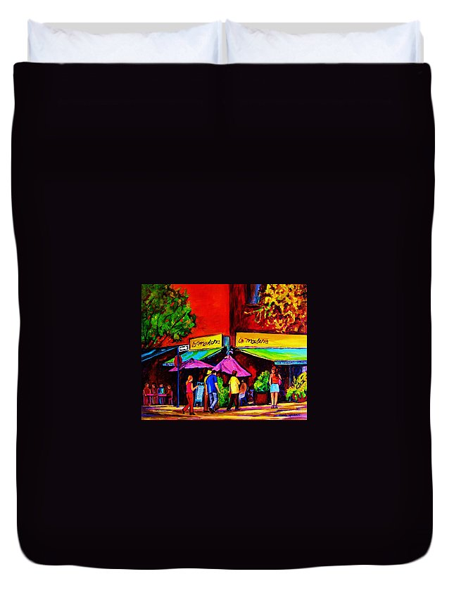 Cafe Scenes Duvet Cover featuring the painting Cafe La Moulerie On Bernard by Carole Spandau