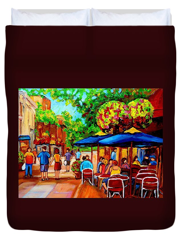 Cafe On Prince Arthur In Montreal Duvet Cover featuring the painting Cafe On Prince Arthur In Montreal by Carole Spandau