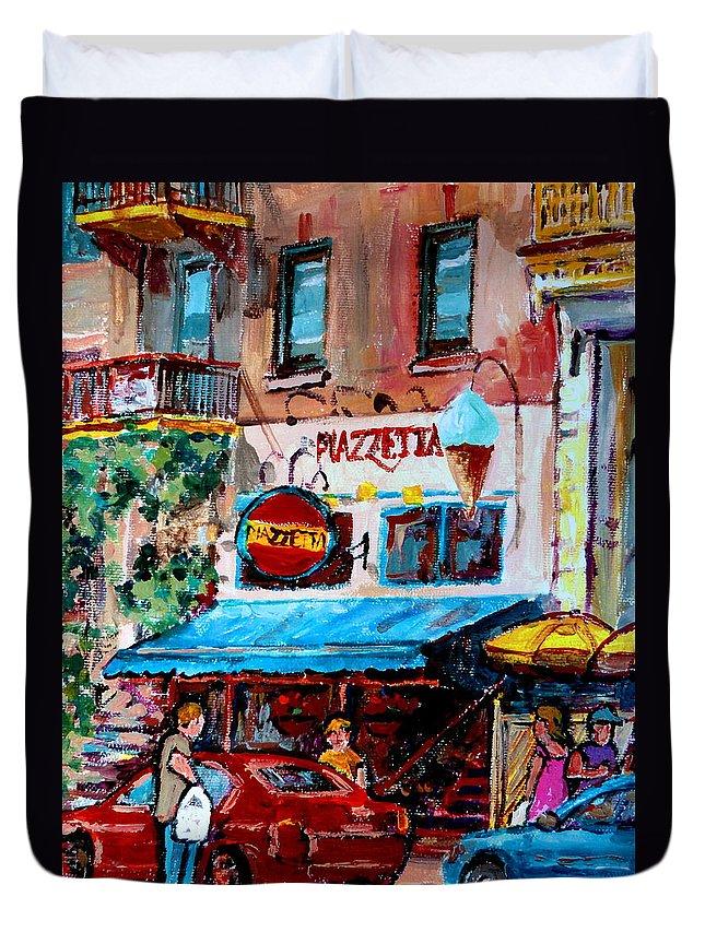 Cafes On St Denis Paris Cafes Duvet Cover featuring the painting Cafe Piazzetta St Denis by Carole Spandau