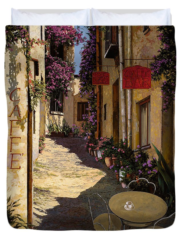 Caffe Duvet Cover featuring the painting Cafe Piccolo by Guido Borelli