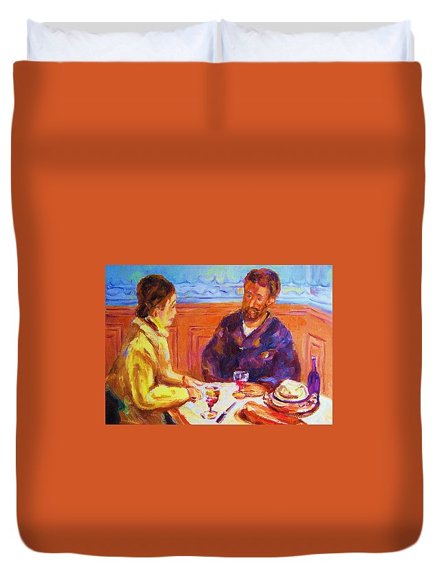 Cafes Duvet Cover featuring the painting Cafe Renoir by Carole Spandau