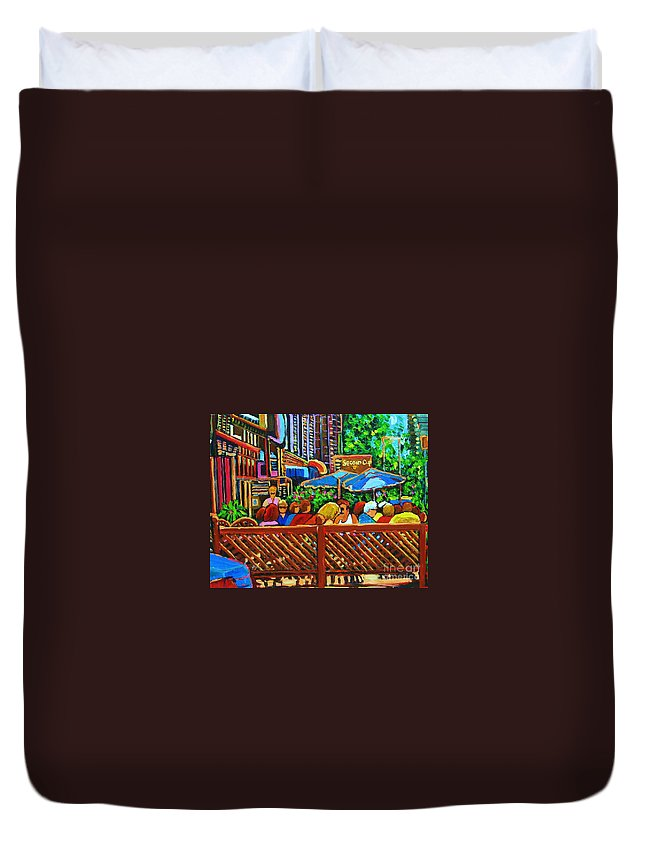 Cafes Duvet Cover featuring the painting Cafe Second Cup by Carole Spandau