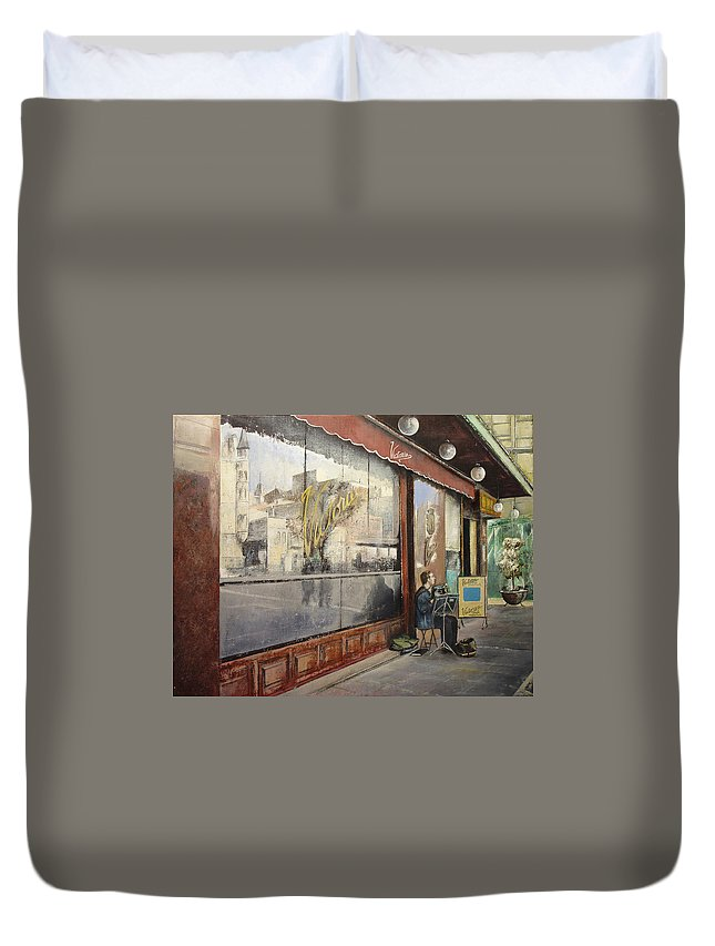 Cafe Duvet Cover featuring the painting Cafe Victoria by Tomas Castano