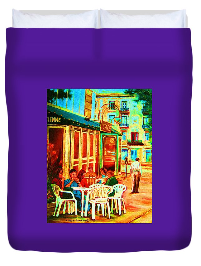 Cafes Duvet Cover featuring the painting Cafe Vienne by Carole Spandau