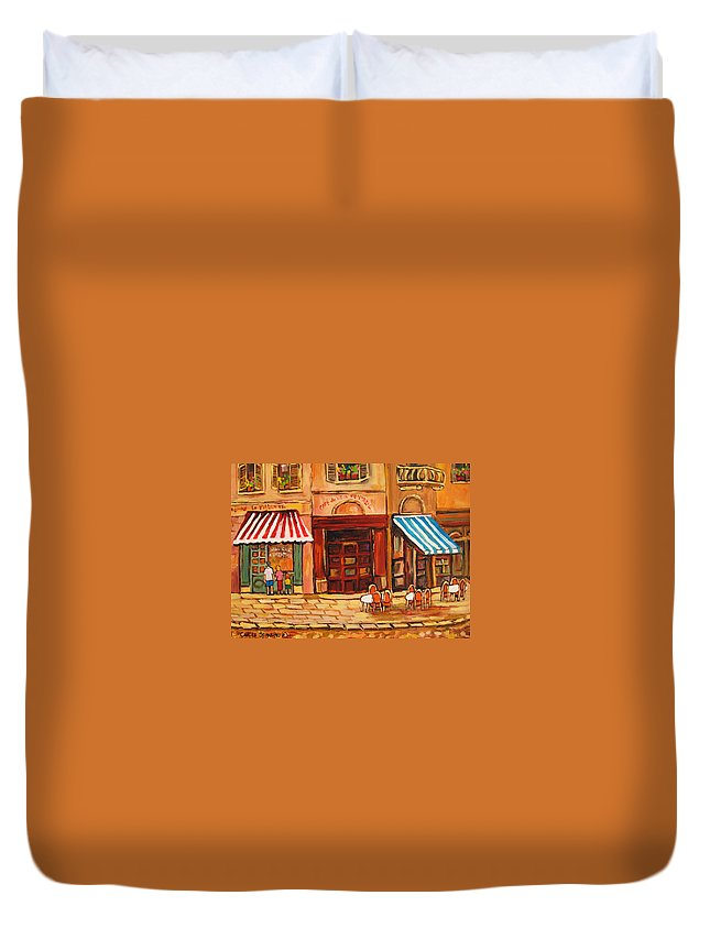 Cafe Vieux Montreal Street Scenes Duvet Cover featuring the painting Cafe Vieux Montreal by Carole Spandau