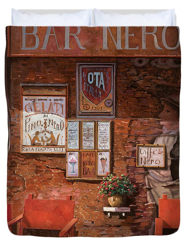 Caffe' Duvet Cover featuring the painting caffe Nero by Guido Borelli