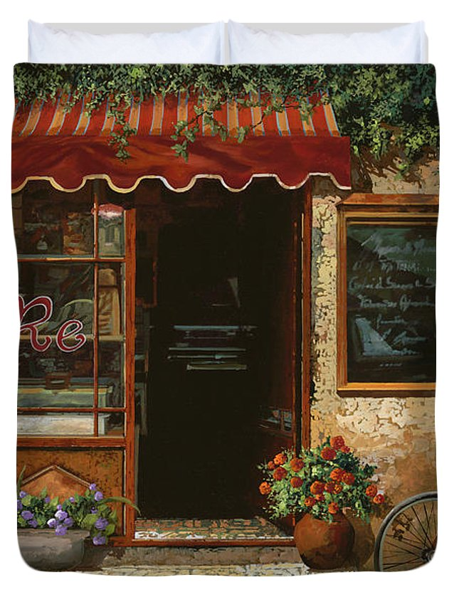 Caffe' Duvet Cover featuring the painting caffe Re by Guido Borelli