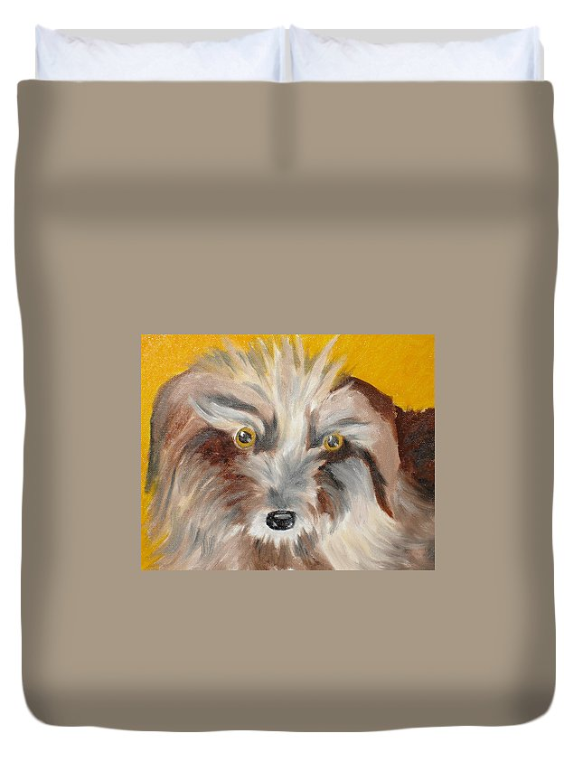 Dog Duvet Cover featuring the painting Cairn Terrier by Susan Kubes