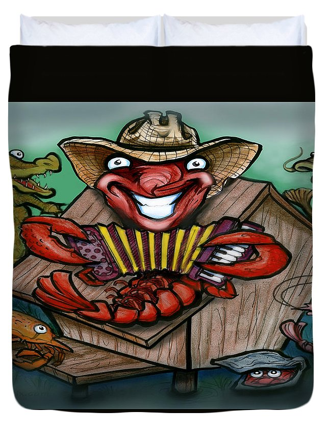 Cajun Duvet Cover featuring the greeting card Cajun Critters by Kevin Middleton