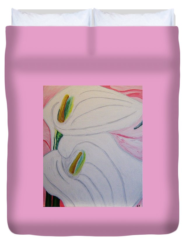 Impressionism Duvet Cover featuring the painting Cala Lillies by Barbara Yearty