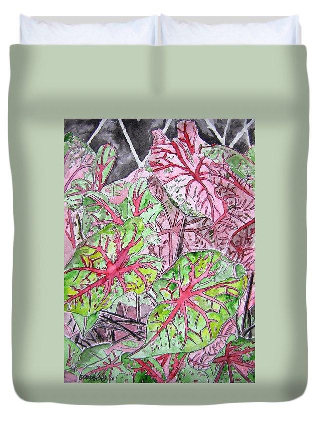 Watercolour Duvet Cover featuring the painting Caladiums tropical plant art by Derek Mccrea