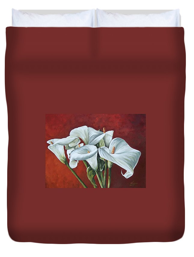 Calas Duvet Cover featuring the painting Calas by Natalia Tejera