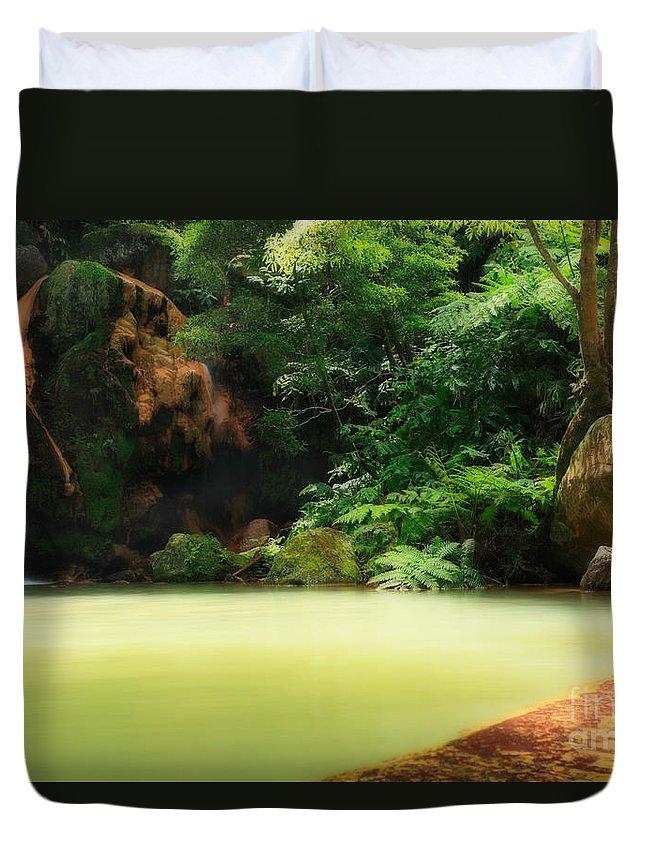 Azoren Duvet Cover featuring the photograph Caldeira Velha Thermal Pool by Gaspar Avila