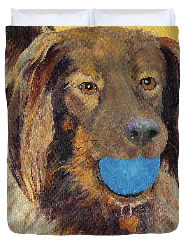 Dog Art Duvet Cover featuring the painting Caleigh by Pat Saunders-White