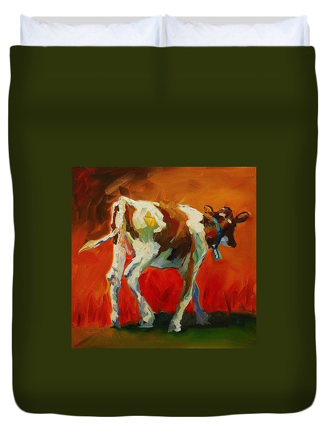 Painting Duvet Cover featuring the painting Calf Baby by Diane Whitehead