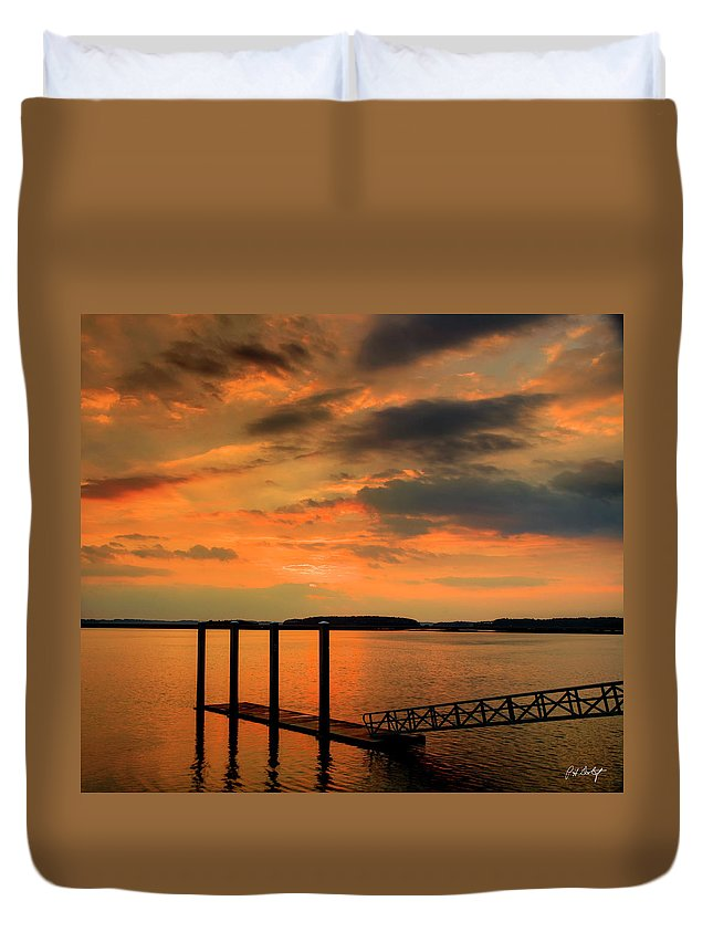 Calibogue Sound Duvet Cover featuring the photograph Calibogue Dock by Phill Doherty