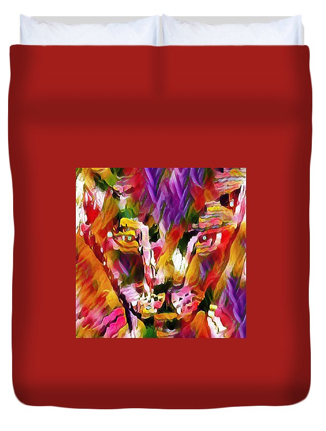Calico Cat Duvet Cover featuring the drawing Calico Cat by Brenae Cochran