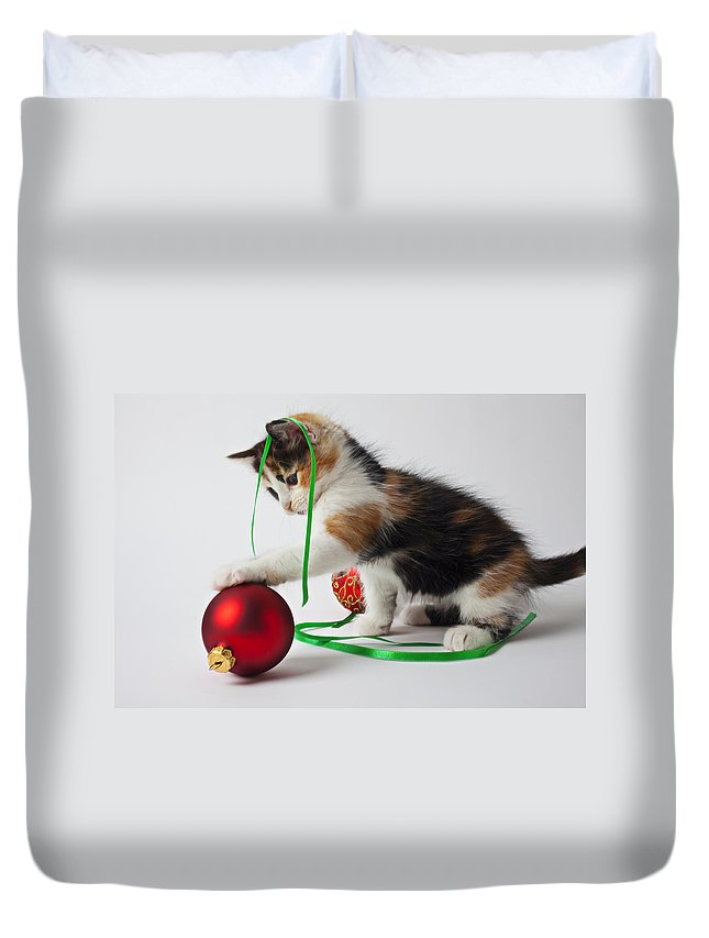 Calico Kitten Christmas Ornaments Duvet Cover featuring the photograph Calico Kitten And Christmas Ornaments by Garry Gay