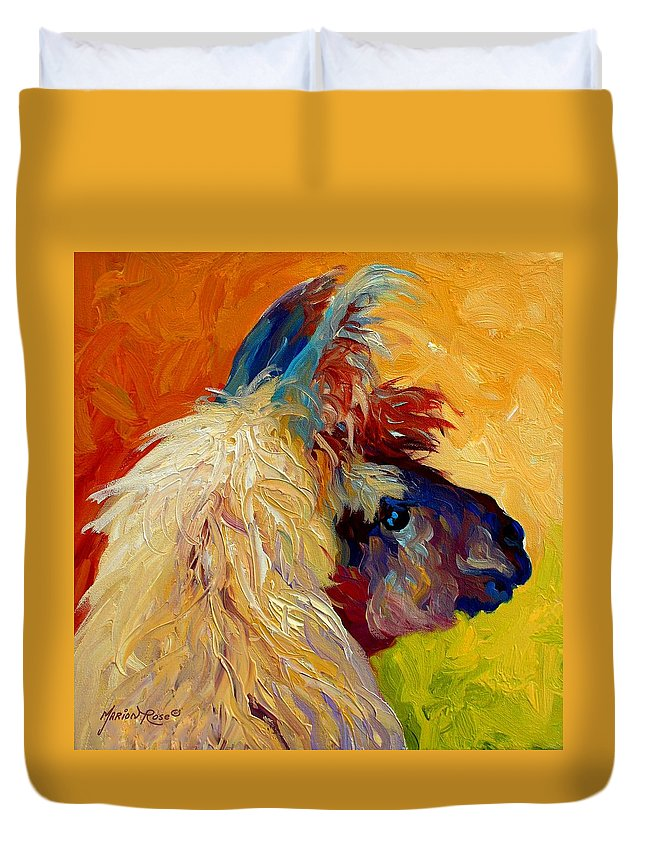 Llama Duvet Cover featuring the painting Calico Llama by Marion Rose