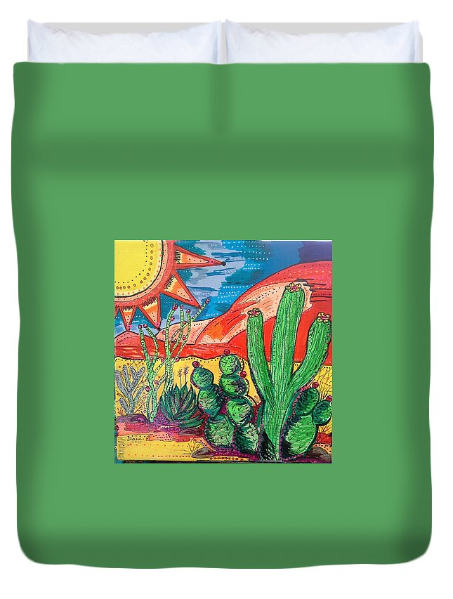 Sun Duvet Cover featuring the painting Caliente by Sharon Davis