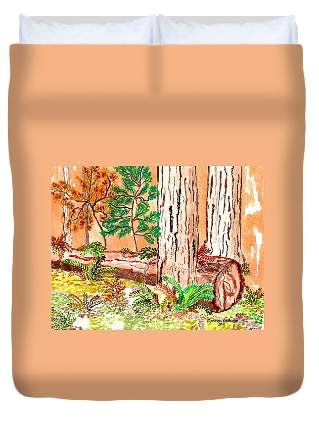 California Prints Duvet Cover featuring the painting Calif. Redwoods by Connie Valasco
