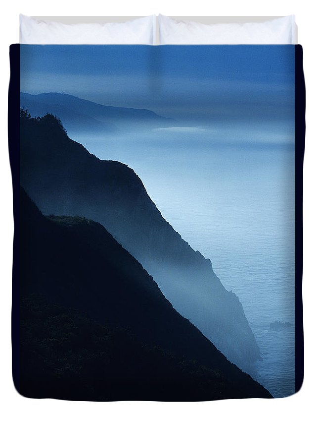 Beach Duvet Cover featuring the photograph California Big Sur Coast by Larry Dale Gordon - Printscapes