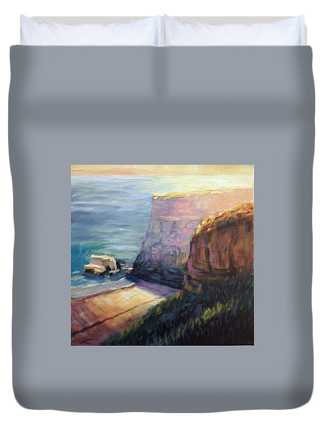 Landscape Duvet Cover featuring the painting California Cliffs by Elena Sokolova