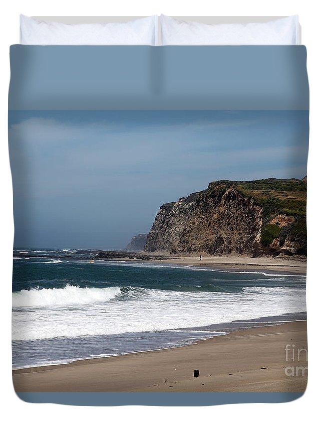 California Duvet Cover featuring the photograph California Coast - Blue by Amanda Barcon
