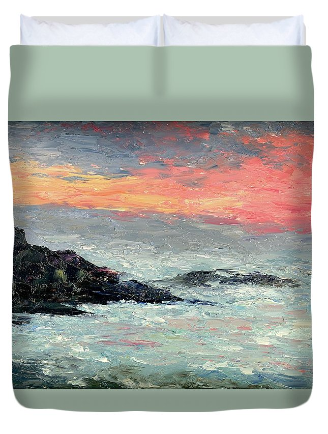 Seascape Duvet Cover featuring the painting California Coast by Gail Kirtz
