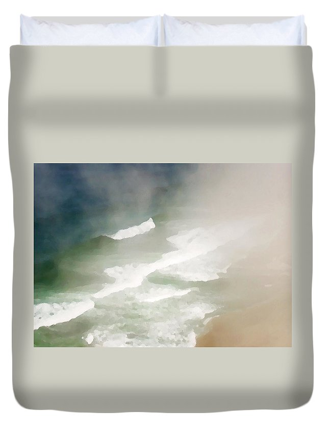 Seascape Duvet Cover featuring the photograph California Coast by Sharon Foster