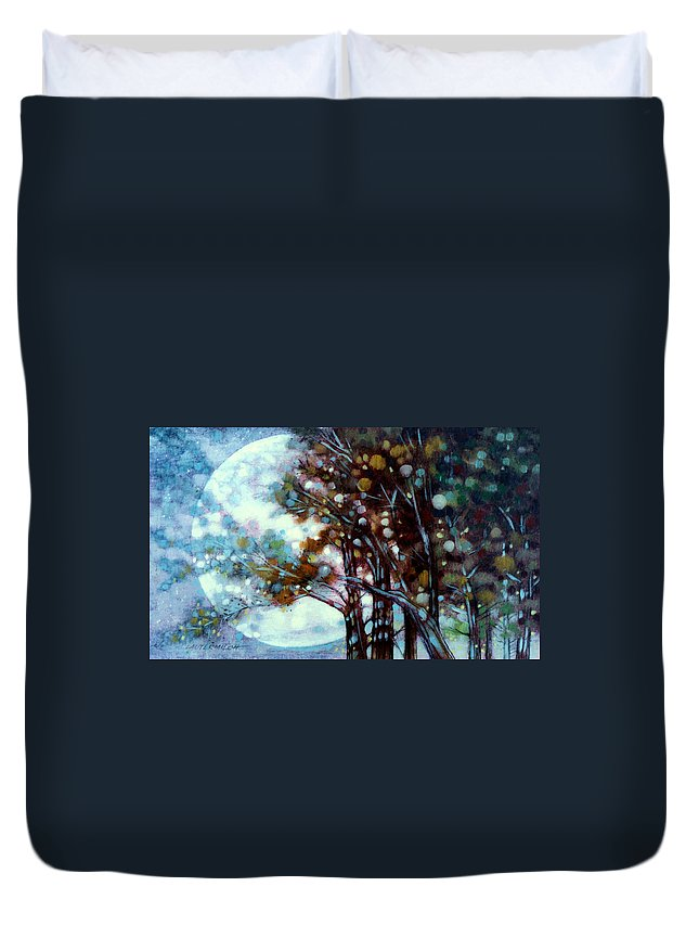 Landscape Duvet Cover featuring the painting California Cypress by John Lautermilch