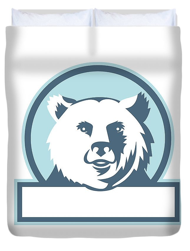 California Grizzly Duvet Cover featuring the digital art California Grizzly Bear Head Smiling Circle Retro by Aloysius Patrimonio