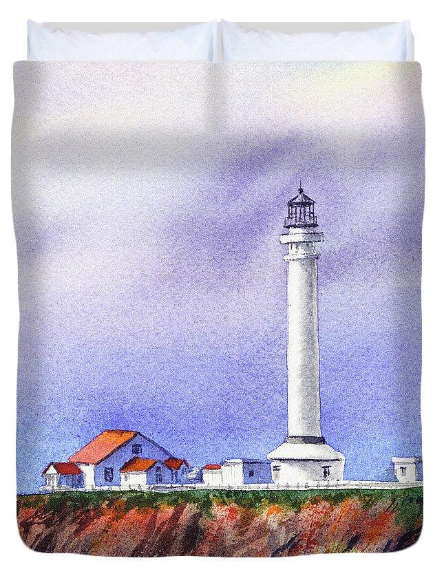 Lighthouse Duvet Cover featuring the painting California Lighthouse Point Arena by Irina Sztukowski