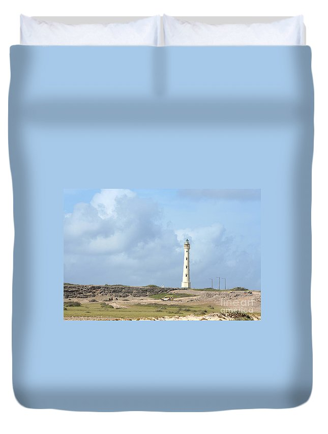 Aruba Duvet Cover featuring the photograph California Lighthouse by Thomas Marchessault