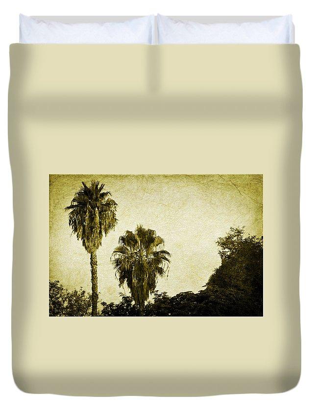 California Duvet Cover featuring the photograph California Palms by Teresa Mucha