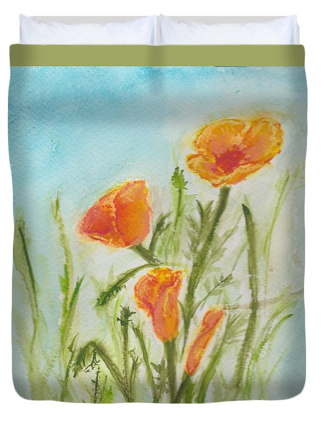 Poppies Duvet Cover featuring the painting California Poppies by Jennie Hallbrown