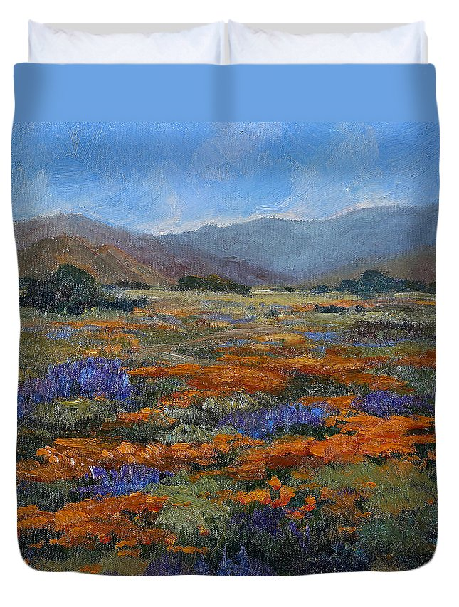 Poppy Duvet Cover featuring the painting California Poppies by Joe Geare
