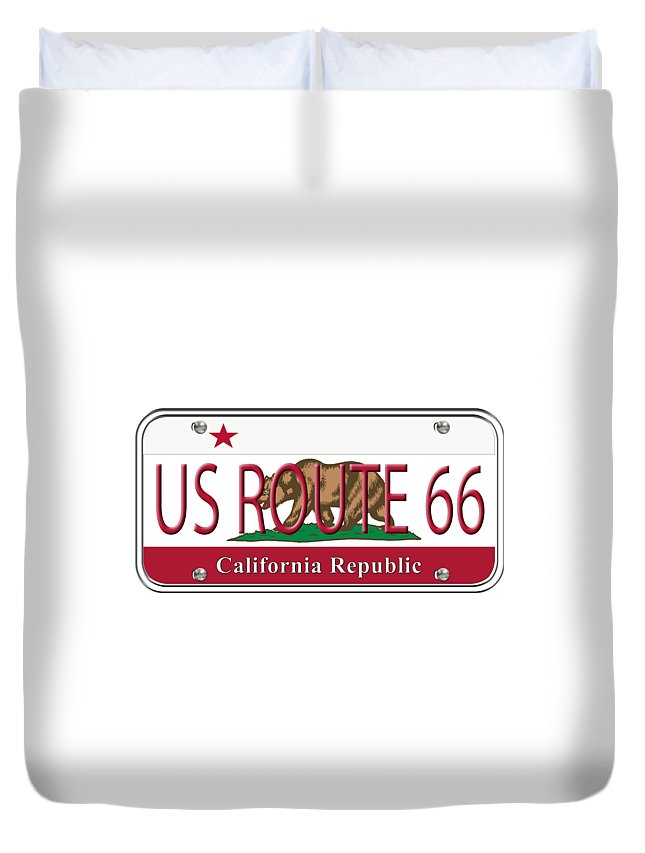 California Duvet Cover featuring the digital art California Route 66 License Plate by Anne Kitzman