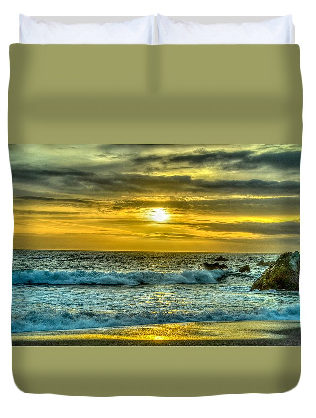 Cali Duvet Cover featuring the photograph California Sunset by Chris Tobin