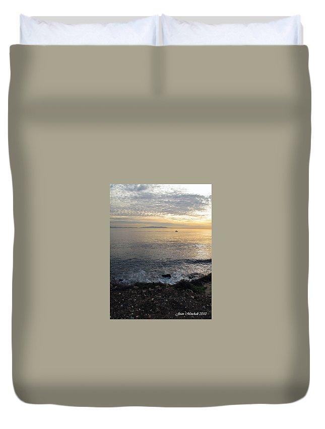 California Duvet Cover featuring the photograph California Sunset by Joan Minchak