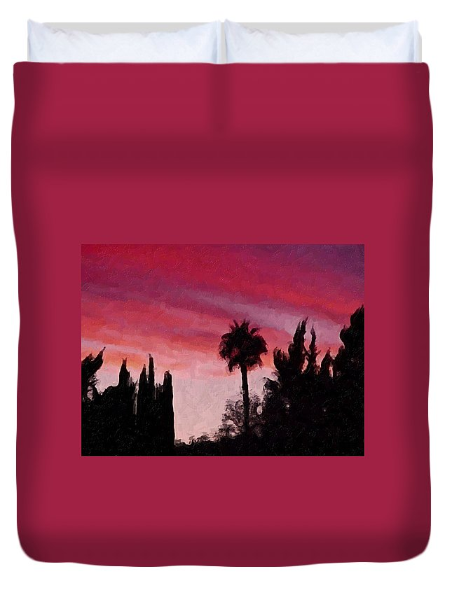 California Duvet Cover featuring the painting California Sunset Painting 1 by Teresa Mucha