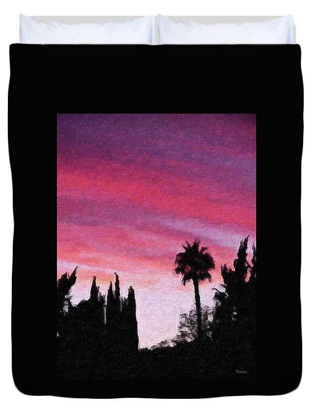 California Duvet Cover featuring the painting California Sunset Painting 2 by Teresa Mucha