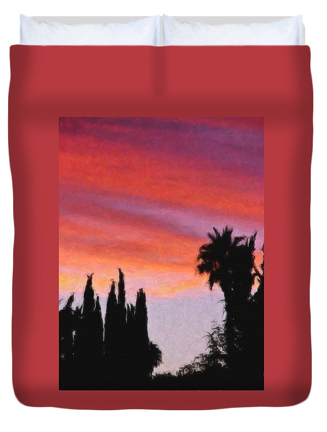 California Duvet Cover featuring the painting California Sunset Painting 3 by Teresa Mucha