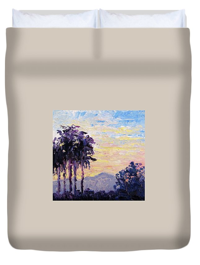 Art Duvet Cover featuring the painting California Sunset by Terry Chacon
