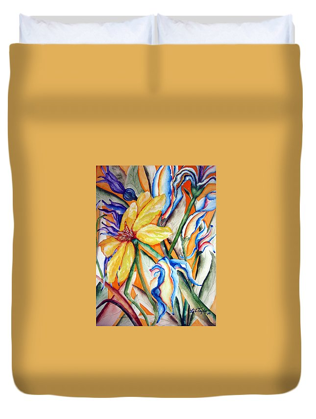 Flower Music Duvet Cover featuring the painting California Wildflowers Series I by Lil Taylor