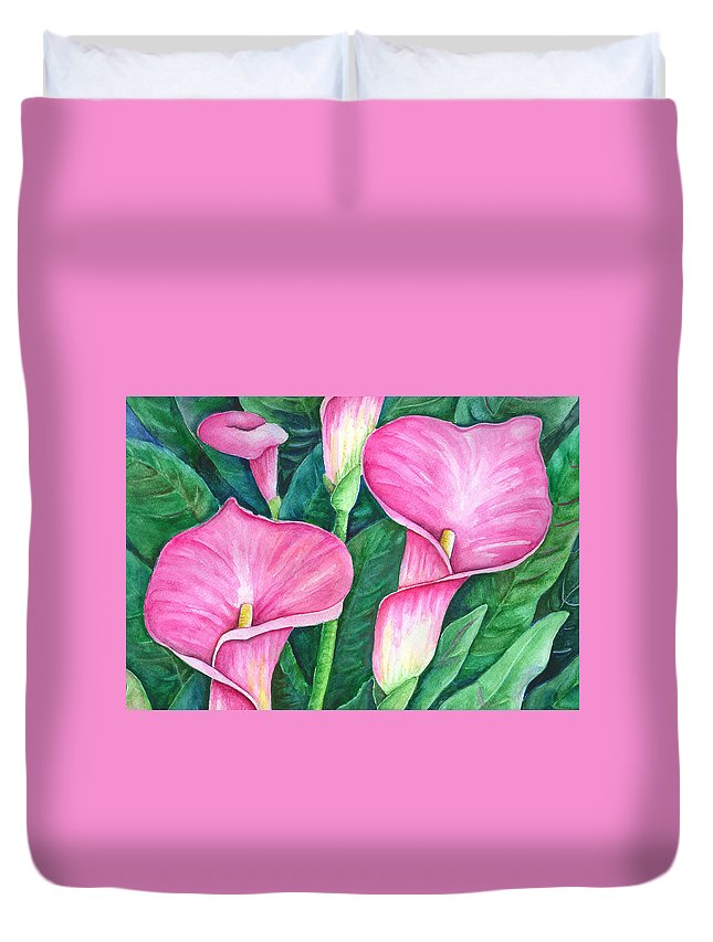 Flowers Duvet Cover featuring the painting Calla Lilies by Sally Storey Jones