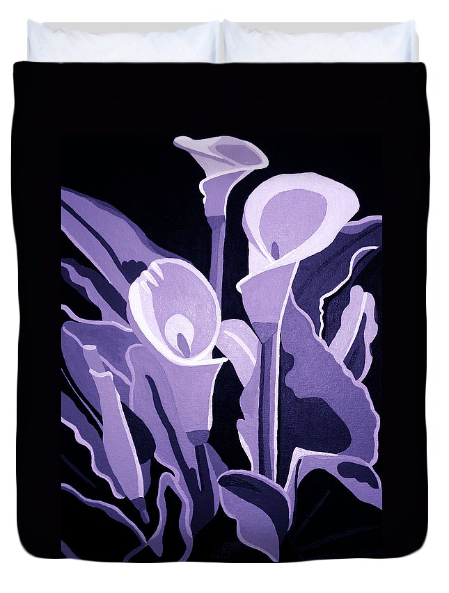 Calla Lillies Duvet Cover featuring the painting Calla Lillies Lavender by Angelina Vick