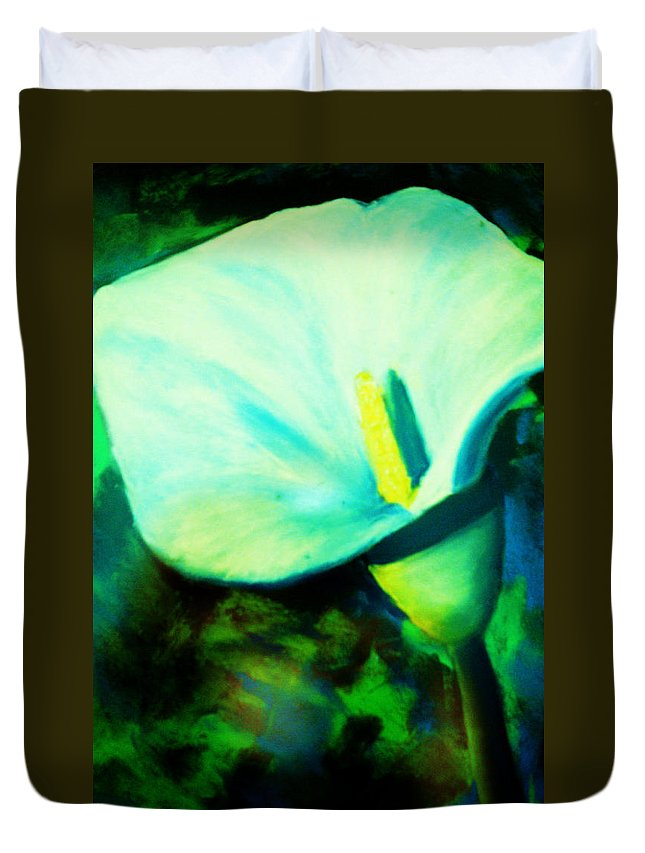 White Calla Lily Duvet Cover featuring the painting Calla Lily by Melinda Etzold