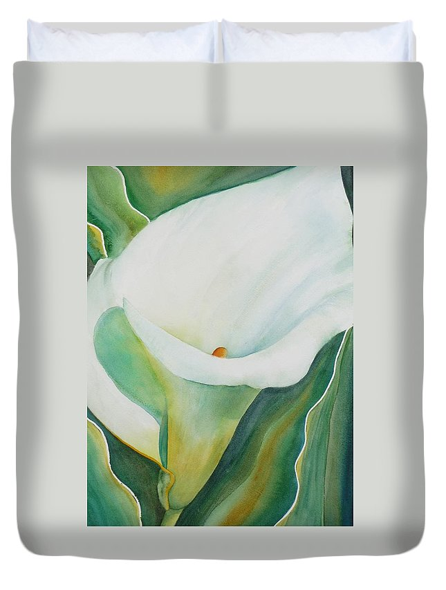 Flower Duvet Cover featuring the painting Calla Lily by Ruth Kamenev